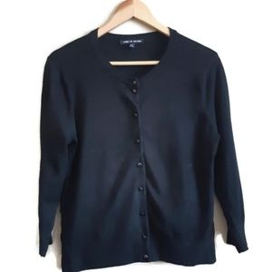 Cable & Gauge | black shiny buttoned sweater